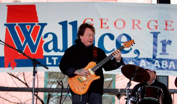 Rick Derringer performs during a campaign rally kicking off George Wallace Jr's bid for the office of lieutenant governor in Montgomery, Ala. (AP Photo/Rob Carr)