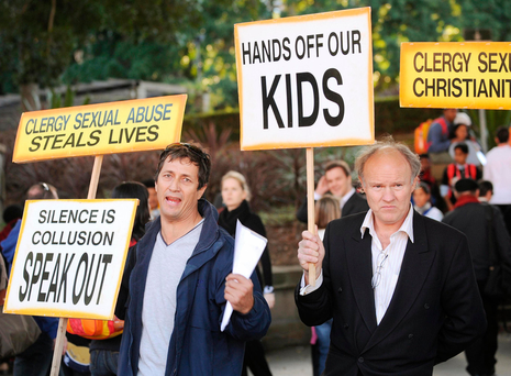 Activists protest against sexual abuse in the Australian Catholic Church outside St Mary's Cathedral, Sydney, in 2008 Photo: Getty