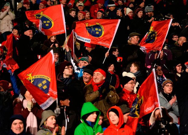 Munster supporters celebrate the last try of the game. Photo: Diarmuid Greene/Sportsfile