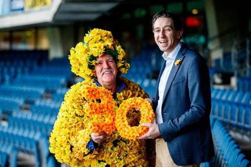 Health Minister Simon Harris with Daf Man James Gilleran at the launch of the Irish Cancer Society's 30th Daffodil Day in Croke Park yesterday Photo: Andres Poveda