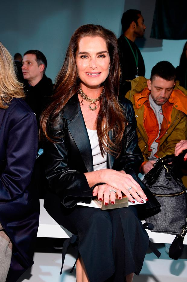 Brooke Shields attends the Calvin Klein Collection Front Row during New York Fashion Week on February 10, 2017 in New York City. (Photo by Dimitrios Kambouris/Getty Images For New York Fashion Week)