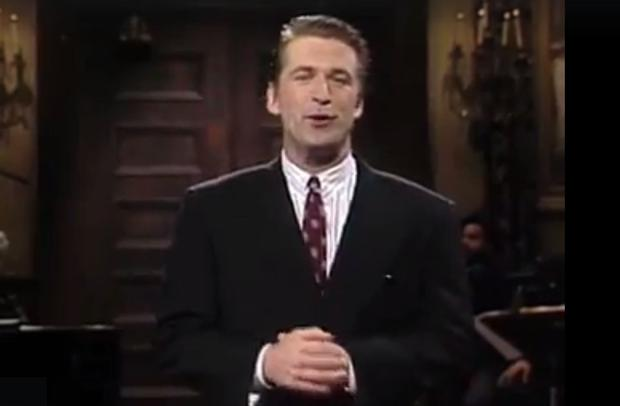 Alec Baldwin hosting Saturday Night Live for the first time in 1990