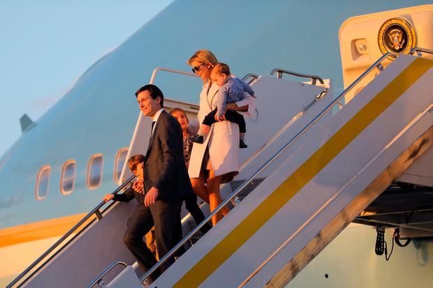 Ivanka Trump and Senior advisor and son-in-law of U.S. President Donald Trump, Jared Kushner arrive with their children Theodore (R), Arabella (C) and Joseph (L) during Japanese's Prime Minister Shinzo Abe's visit to West Palm Beach, Florida U.S., February 10, 2017. REUTERS/Carlos Barria