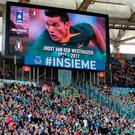 A tribute to Joost van der Westhuizen is shown on a big screen prior to the RBS 6 Nations match at the Stadio Olimpico, Rome
