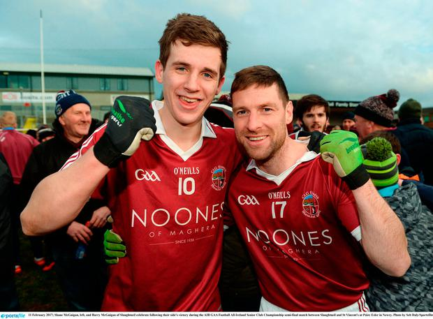 Shane McGuigan, left, and Barry McGuigan of Slaughtneil celebrate