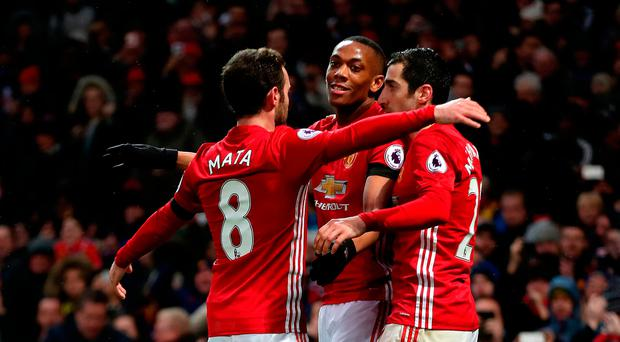 Manchester United's Anthony Martial (centre) celebrates scoring his side's second goal