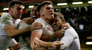 England's Elliot Daly celebrates scoring the decisive try against Wales