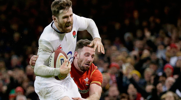 England's Elliot Daly on his way to scoring the winning try against Wales Photo: Reuters