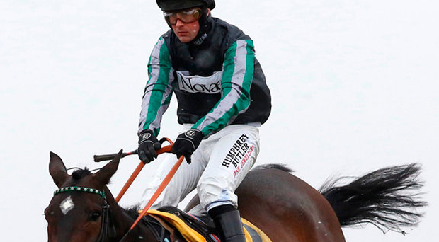 Altior, ridden by Nico de Boinville, goes on to win The Betfair Exchange Chase at Newbury. Photo: Julian Herbert/PA