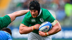 Sean O'Brien enjoyed a highly encouraging return and was part of Ireland's back row tour de force. Photo: Sportsfile