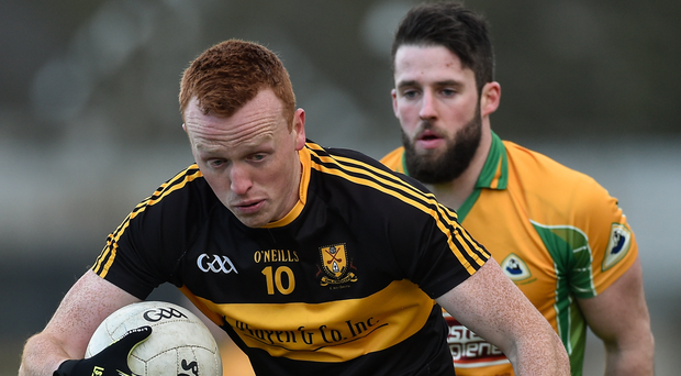 Johnny Buckley of Dr. Crokes in action against Corofin's Conor Cunningham during their AIB GAA Football All-Ireland Senior Club Championship semi-final match. Photo: Diarmuid Greene/Sportsfile