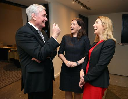 Kevin Vickers, Canada's ambassador to Ireland, speaks with Siobhan Moran, Royal Bank of Canada, and Sinead Ovenden, PwC, at the Women's Executive Network Conference
