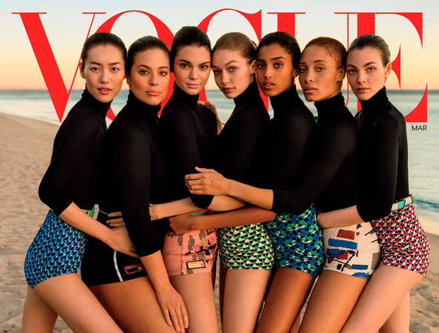Slim pickings: The cover of 'Vogue's' March edition, with what seems to be obvious retouching done on the models' arms