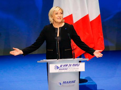 Front National's presidential candidate Marine Le Pen in Lyon, France, last week Picture: PA