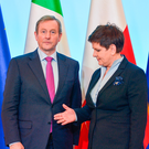Polish Prime Minister Beata Szydlo greets Taoiseach Enda Kenny during his trip to Warsaw last Thursday. The visit comes at time when the previously plodding eurozone economy looks like it might finally be on the up again Picture: Artur Widak
