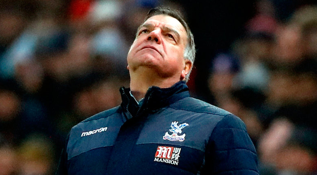 Crystal Palace manager Sam Allardyce looks dejected during the Premier League match at the bet365 Stadium, Stoke. Photo: Martin Rickett/PA