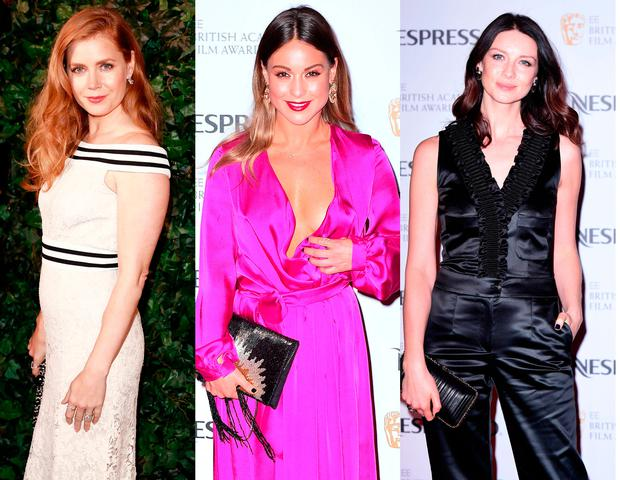 (L to R) Amy Adams, Louise Thompson and Caitriona Balfe at the BAFTA nominees party at Kensington Palace