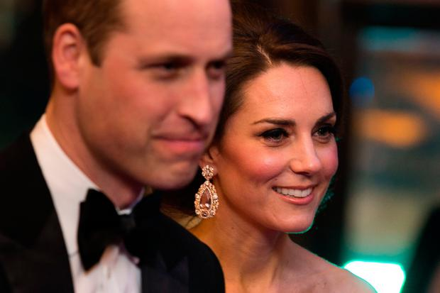 The Duke and Duchess of Cambridge meet with BAFTA representatives as they arrive to attend the EE British Academy Film Awards held at the Royal Albert Hall, Kensington Gore, Kensington, London. Photo: Daniel Leal-Olivas/PA Wire