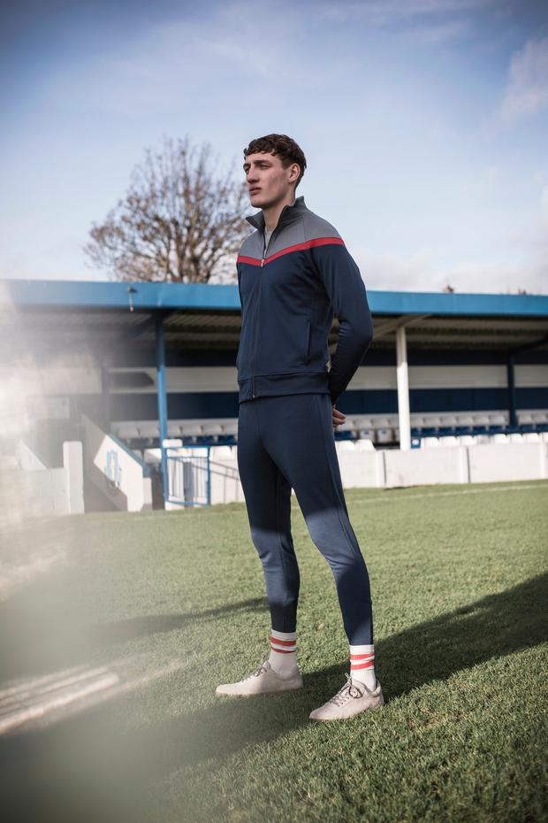 Sporty zip-up top, €40; sweatpants with zip finish on legs, €30 (both available from early March); suede trainers, €50