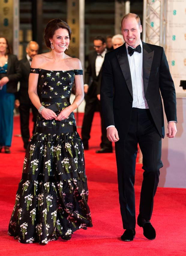 Kate Middleton and Prince William attending the EE British Academy Film Awards held at the Royal Albert Hall, Kensington Gore, Kensington, London. Photo: Daniel Leal-Olivas/PA Wire