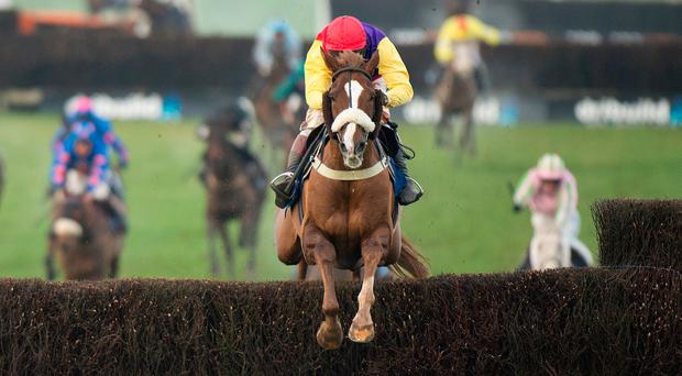 Richard Johnson atop Native River wins the Welsh National. Photo: Edward Whitaker