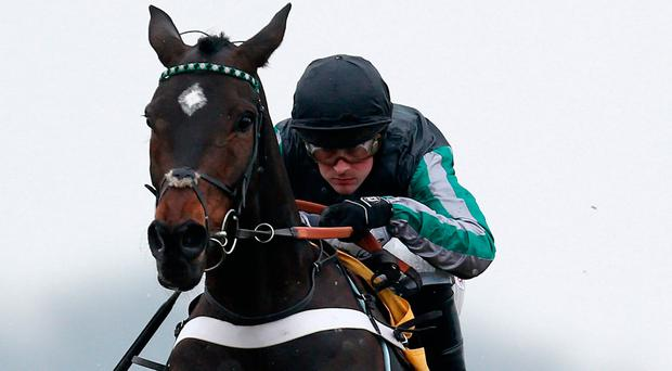 Altior, with Nico de Boinville up, on the way to victory at Newbury. Photo by Alan Crowhurst/Getty Images