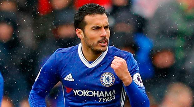 Pedro celebrates after scoring. Photo: Reuters / Phil Noble
