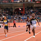 Kildare's Bernard Ibirogba (8) sprints to victory at the Millrose Games in New York yesterday