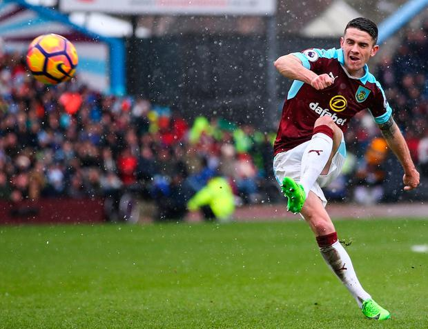 Robbie Brady strikes his free kick perfectly to score for Burnley. Photo by Robbie Jay Barratt - AMA/Getty Images