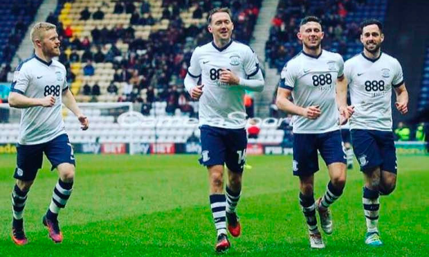 Fellow-Irishmen Daryl Horgan, Alan Browne and Greg Cunningham join in as Aiden McGeady celebrates after scoring for Preston.