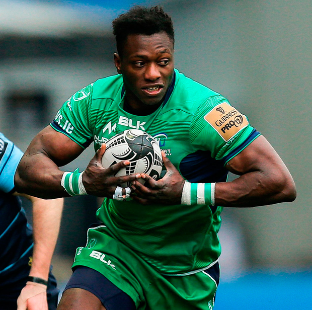 'Connacht then spurned two golden opportunities to snatch victory when Niyi Adeolokun (pictured) and Healy knocked on when just metres from the line' Photo: Gareth Everett/Sportsfile