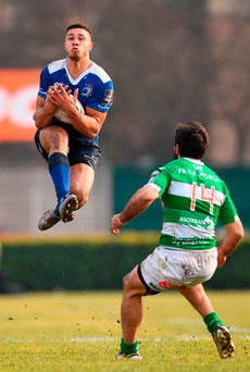 Leinster's Adam Byrne in action against Andrea Pratichetti of Treviso Photo: Stephen McCarthy/Sportsfile
