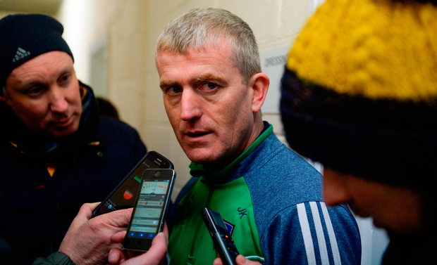 12 February 2017; Limerick manager John Kiely talks to the media after the Allianz Hurling League Division 1B Round 1 game between Wexford and Limerick at Innovate Wexford Park in Wexford. Photo by Daire Brennan/Sportsfile