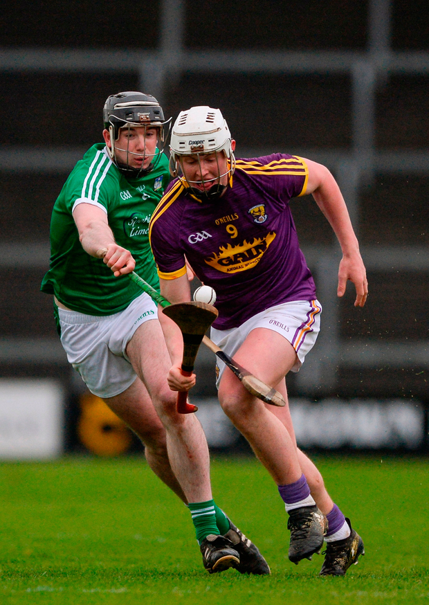 Aaron Murdock of Wexford in action against Paul Browne of Limerick. Photo by Daire Brennan/Sportsfile