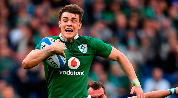 Garry Ringrose bursts through the Italian defence to score Ireland's seventh try in Rome on Saturday Photo: Ramsey Cardy/Sportsfile