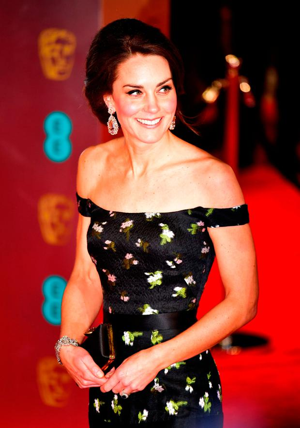 The Duchess of Cambridge attending the EE British Academy Film Awards held at the Royal Albert Hall, London. Photo: Dominic Lipinski/PA Wire