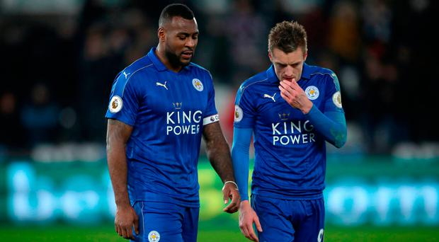 Wes Morgan and Jamie Vardy are both facing the axe. Photo credit: Nick Potts/PA Wire.