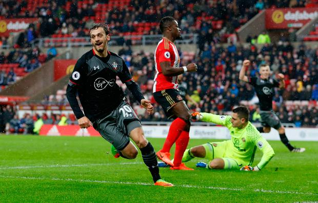 Gabbiadini might just be a short-term success, although the way he scored his two goals in the Saints' 4-0 win against Sunderland at the stadium of Light suggest he could be around for a while. Photo: Reuters / Lee Smith