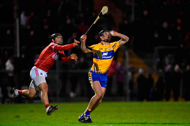 Cathal Malone of Clare in action against Christopher Joyce of Cork. Photo by Matt Browne/Sportsfile
