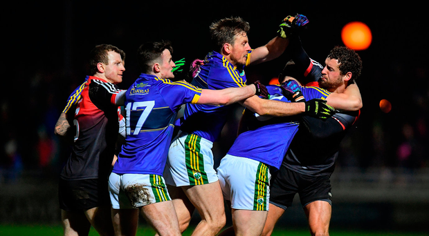Players from both sides get involved in an altercation during Mayo's victory against Kerry in their Allianz NFL Division 1 clash Photo: Brendan Moran/Sportsfile