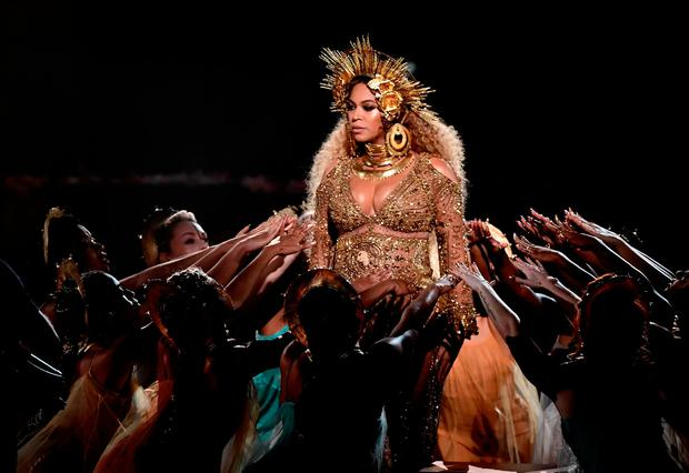 Recording artist Beyonce performs onstage during The 59th GRAMMY Awards at STAPLES Center on February 12, 2017 in Los Angeles, California. (Photo by Kevin Winter/Getty Images for NARAS)