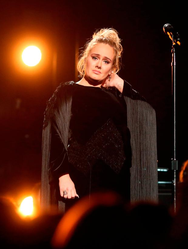 Singer Adele during The 59th GRAMMY Awards at STAPLES Center on February 12, 2017 in Los Angeles, California. (Photo by Christopher Polk/Getty Images for NARAS)