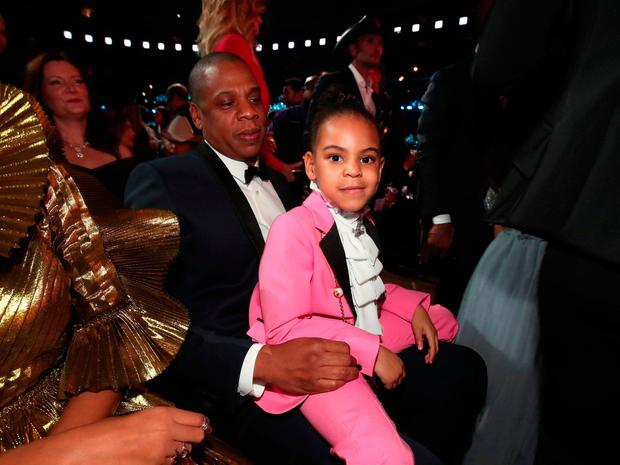 Hip-Hop Artist Jay-Z and daughter Blue Ivy Carter during The 59th GRAMMY Awards at STAPLES Center on February 12, 2017 in Los Angeles, California. (Photo by Christopher Polk/Getty Images for NARAS)