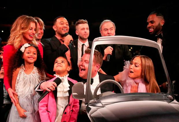 (L-R) Blue Ivy Carter, Guest, Faith Hill, Keith Urban, John Legend, GRAMMY Awards host James Corden, Ryan Tedder of OneRepublic, Neil Diamond, Jennifer Lopez and Jason Derulo during The 59th GRAMMY Awards at STAPLES Center on February 12, 2017 in Los Angeles, California. (Photo by Christopher Polk/Getty Images for NARAS)