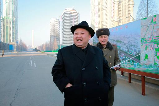 North Korean leader Kim Jong Un inspects the construction site of Ryomyong Street, in this undated photo released by North Korea's Korean Central News Agency (KCNA) on January 26, 2017. KCNA via REUTER