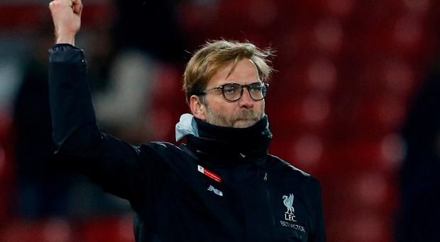 Liverpool manager Jurgen Klopp celebrates after the game on Saturday