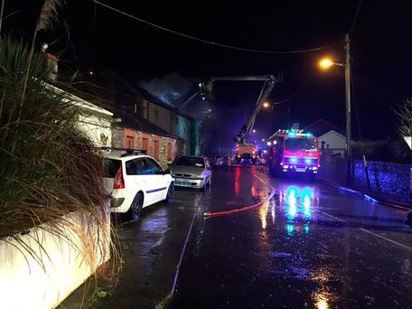 Firefighters tackle blaze in Midleton. Picture: Paul Byrne/TV3