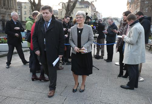 Katherine Zappone, Minister for Children and Youth Affairs walks onto the plinth in Leinster House to speak to journalists. Picture credit; Damien Eagers 13/2/2017