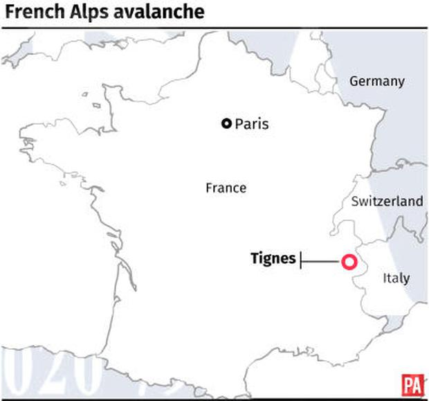 Locates Tignes in the French Alps where an avalanche has killed at least four people. Photo: PA