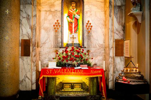 The shrine of St Valentine at Our Lady of Mount Carmel in Aungier Street, Dublin. Photo: Arthur Carron